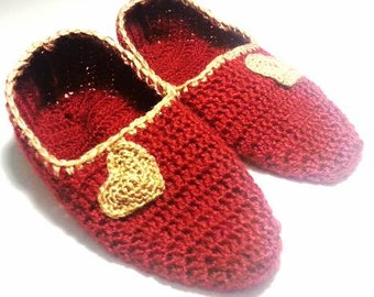 Crochet Slippers Socks women House Shoes Red with Brown Heart  Christmas Gift