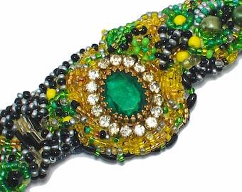 Green bead embroidered cuff bracelet, emerald, avant garde