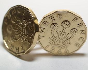 1944 Threepence 3d 73rd birthday Cufflinks - Original 1944 threepence coin cufflinks 73rd