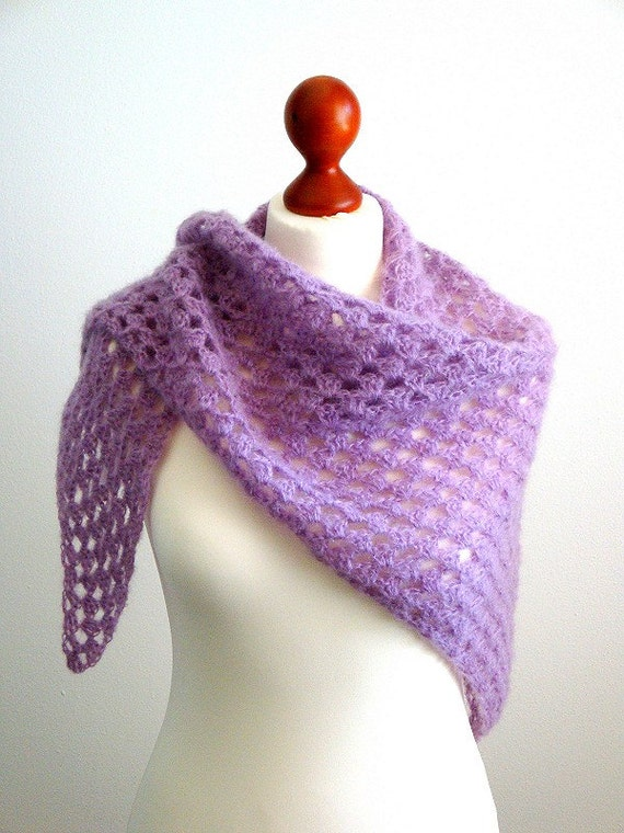 Shawl, triangle, crocheted, lace, lila, wool, for all seasons