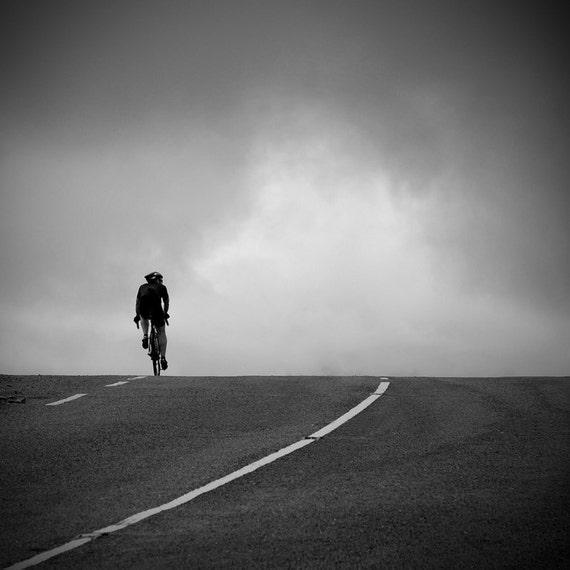 Cycling photo, bike photo, black and white fine art photography, lonely cyclist, 12 x 12