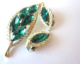 Earrings and Brooch Set-Green Leaves-Vintage Cut Glass