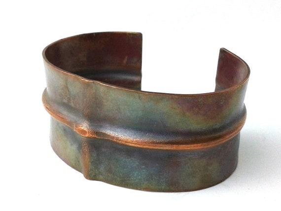 Ridge Fold Formed Copper Bracelet Cuff Earthy Organic - Heat Patina Antique Iridescent Sheen Finish Hammered Jewelry 18g