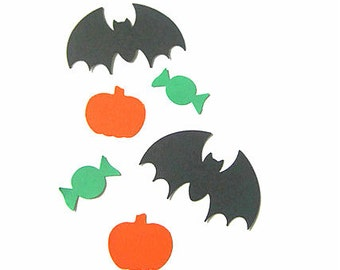 100 Halloween Confetti - Bats, Pumpkins & Candy - 100 Paper Punches, halloween party decorations, table confetti, fall trends