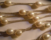 """63"""" Heavy Chain Sterling Silver big 9mm Cultured Pearl Necklace unused old stock"""