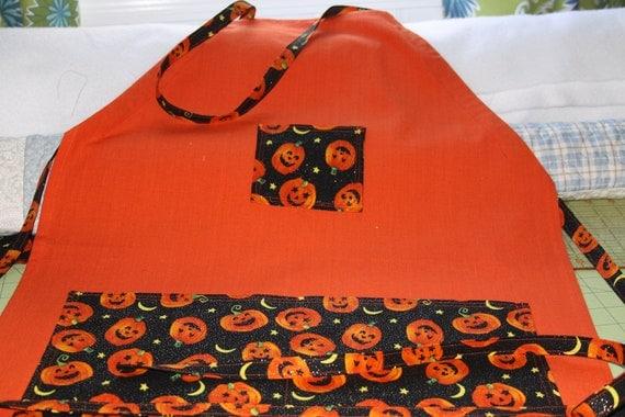 Tea Towel Halloween Apron - adjustable straps