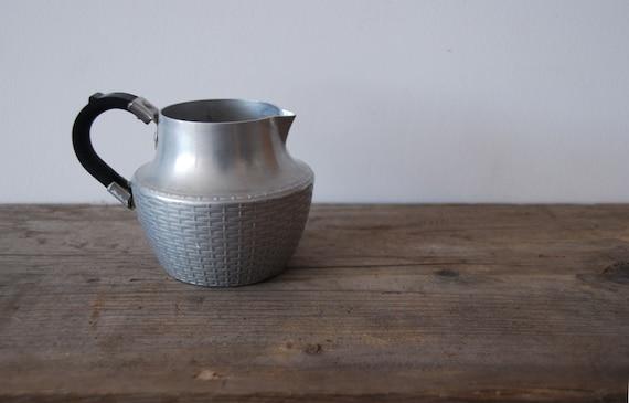 Vintage 50s Swan Brand Wikka Ware Aluminium Milk Jug / Creamer - Silver Tone - Mid Century Modern
