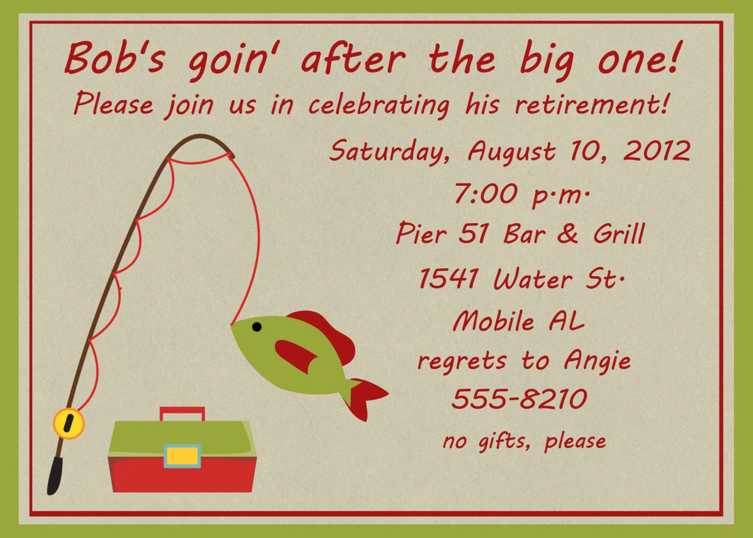 fishing retirement party invitation, Party invitations
