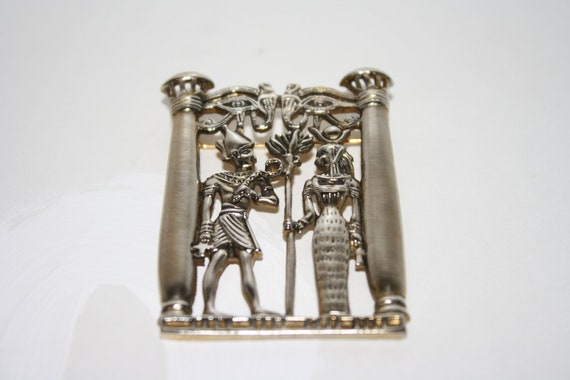 Vintage Egyptian Isis and Osiris Silver Tone Brooch