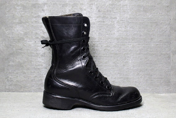 Vtg 80s Black Leather Lace Up Combat Ankle Boots 6 M