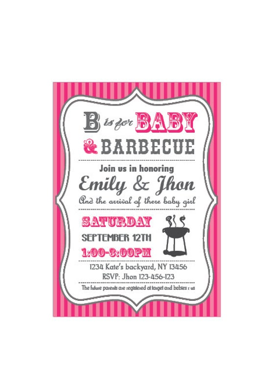 baby-q baby shower bbq invitation couples girl,