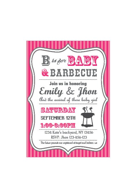 baby q baby shower bbq invitation couples girl