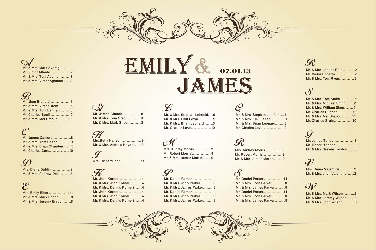 Free Printable Wedding Seating Chart Template : Search ...
