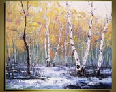 """Original Oil Painting  Modern Palette Knife landscape fine art on Canvas The winter Birch Forest Ready to Hang by Qujun 20"""" by 24"""""""
