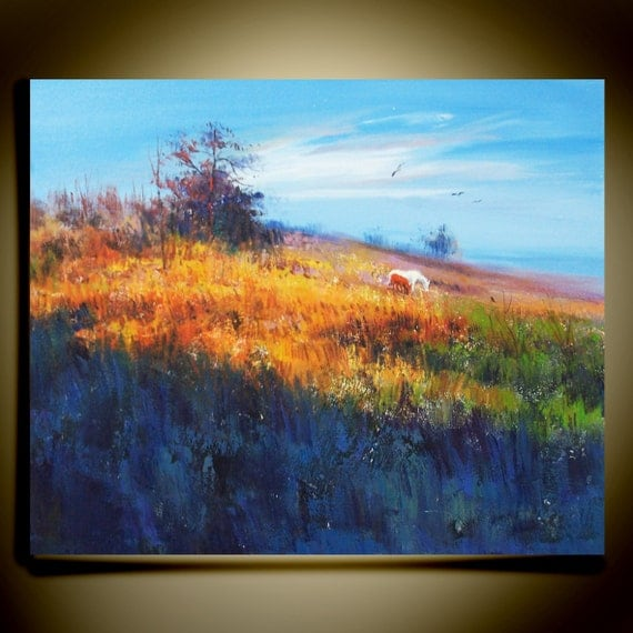 """Original Modern Palette Knife landscape wall decor Oil Painting on Canvas silence  Ready to Hang by Qujun 20"""" by 24"""""""