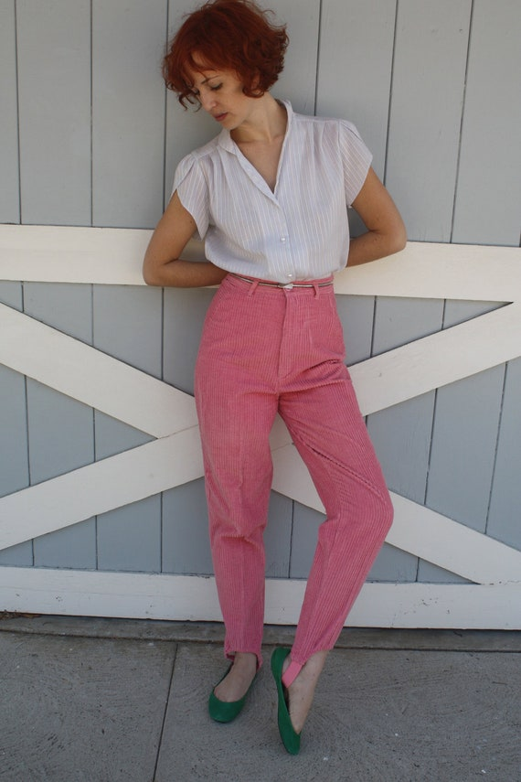 Vintage 80s CORDUROY STIRRUP Pants PINK High Waisted High Rise Bottoms