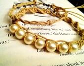 Handmade Pearl and Hemp Woven Bracelet