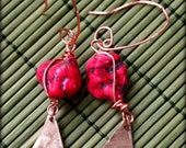 hot pink howlite upcycled brass drum cymbal earrings