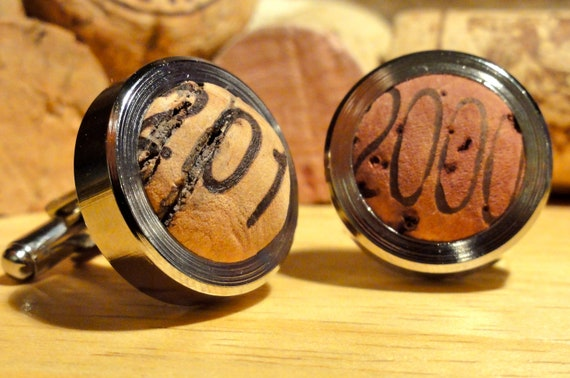 Vintage Cork Cufflinks - Recycled Wine Cork Cufflinks