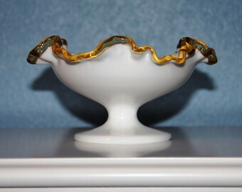 Rare! Fenton Gold Crest - Vintage 1943 - Footed Double Crimped Compote  70 YEARS OLD