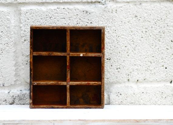 Vintage wooden Tray Display Box Old drawer insert Industrial Storage Unusual Organisation