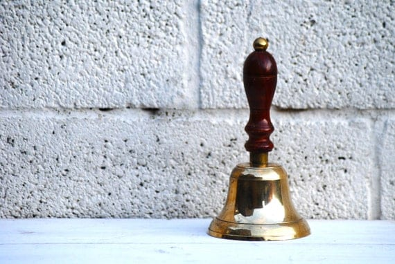 Vintage School Bell Retro Brass Bell with a Wooden handle Yard Bell Back to School