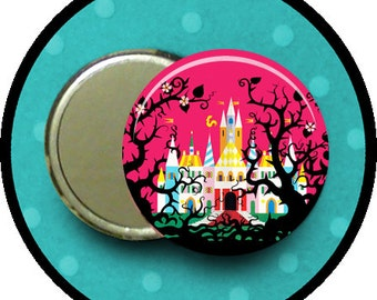 "the Castle and the piNk Sky 2.25 inch pocket MIRROR, button or magnet 2 1/4"" size"