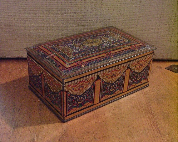 Antique Art Deco Tin Box - Canco Beautebox for Huylers Confections