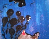 Fly Anyway original acrylic painting blue silhouette elephant balloons 12x24