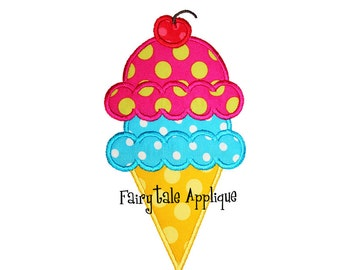 Digital Machine Embroidery Design -  Double Scoop Ice Cream Cone Applique