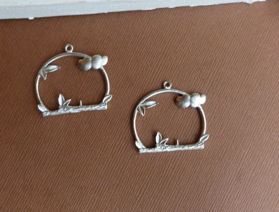 Silver Window Pendant -- 2 pieces -- Matte Rhodium Plated Birdcage Charm Findings... last ones