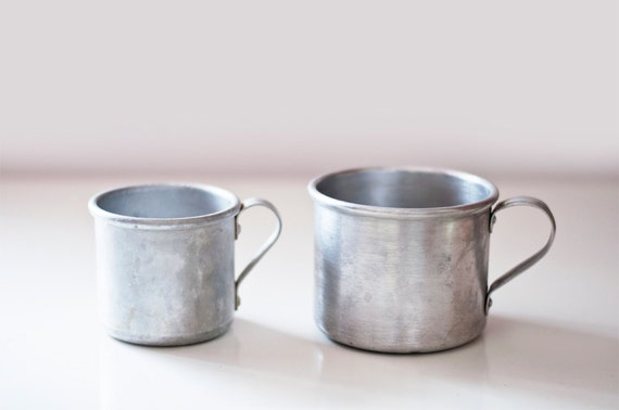 Vintage Aluminum Mugs - set of 2 - camping cups - made in Soviet Union