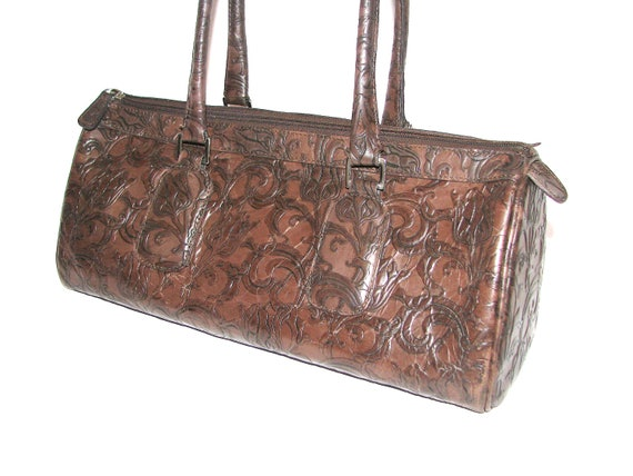 LEATHER Handbag Doctor's Bag / Speedy Bag Style.  Autumn Fall Fashion. Paisley Embossed Antique Leather.