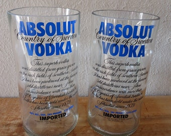 Drinking Glasses Recycled from Large Absolut Vodka Handle Bottles 40 oz Set of 2