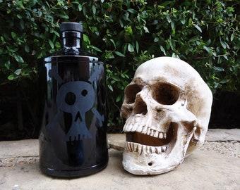 Black Skull and Crossbones Poison Bottle made from a Recycled Hendricks Gin Bottle
