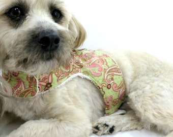 Dog Harness Dog Vest Dog Harness Vest Pink and Green Paisley Pet Harness