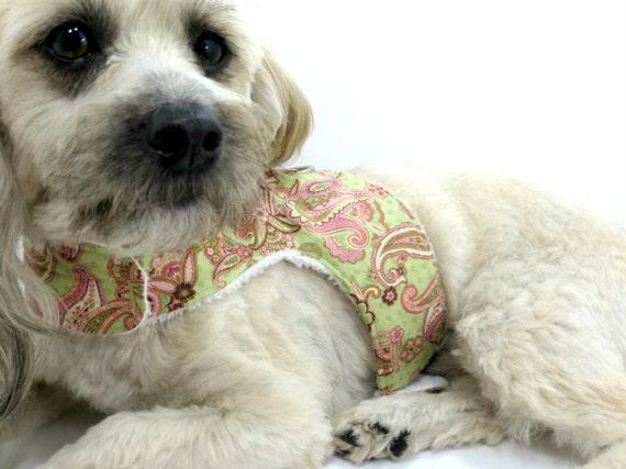 Dog Harness Dog Vest Dog Harness Vest Pink and Green Paisley Pet Harness