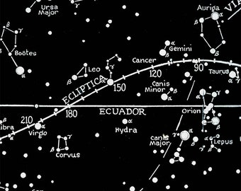 Print Poster Star  Map Constellations, Celestial Ecuador and Zodiac Vintage Image