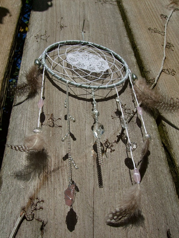 Light Blue, Pink, and White Shabby Chic Spider Web and Lace Dream Catcher