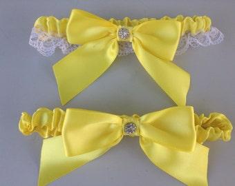 Lemon Yellow Wedding Bridal Garter Set ... Bridal Garter and Toss Garter with Rhinestone details...