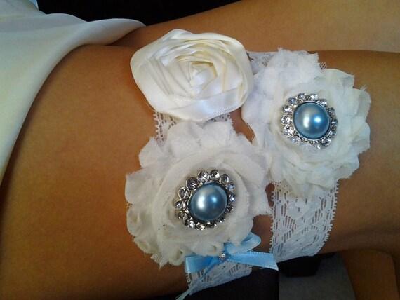Something Blue Wedding Garter - Beautiful Bridal Garter Set- Ivory Stretch Lace - Ivory Rosettes with Pearl,  Rhinestones
