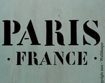 "Paris France Stencil -10""x4.7"""