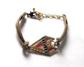 Tan Suede Tribal Friendship Bracelet With Colorful Gold Arrow Charm