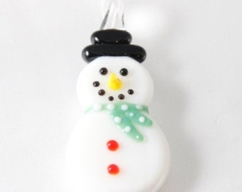 REDUCED TO CLEAR 60mm Handmade Glass Snowman Pendant