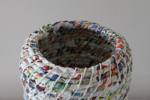 Upcycled Paper Baskets: Junk Mail / Coiled / Extra Large