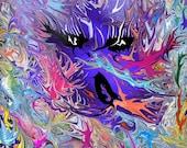 Swallowed - Abstract Art, Psychadelic Art, Freaky, Face, Creepy, Dark, Painting, 8x10, Fine Art Print
