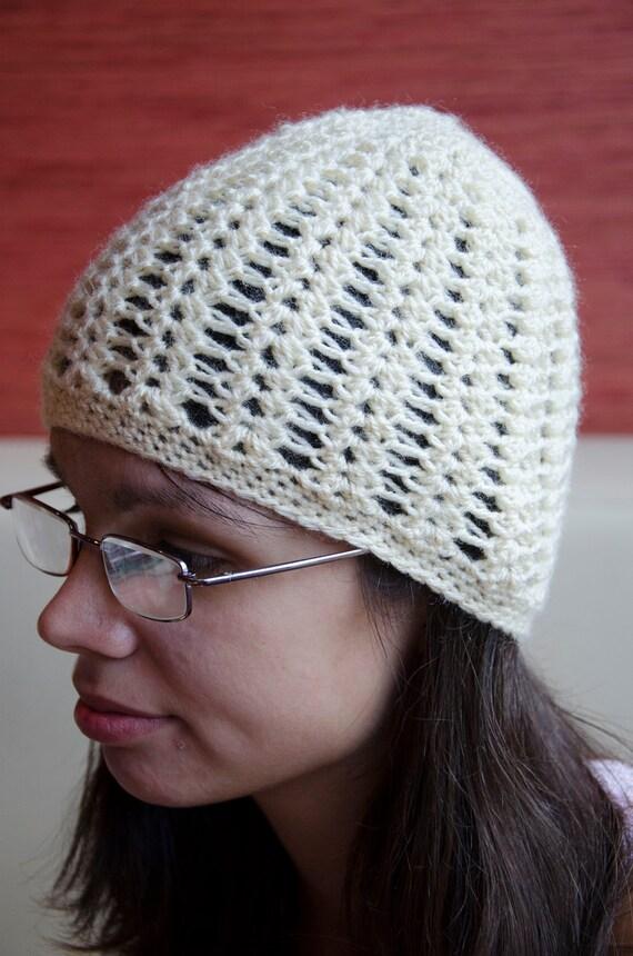 Cream beret beanie hat cap handmade unique crochet