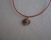 Positive Energy Leather Cord  Necklace with Red Jasper -Passion/Love/Heart Protection