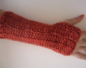 Imbued with Positive Energy Knit fingerless gloves (fingerless mittens) in White/Pink/Gray/Red