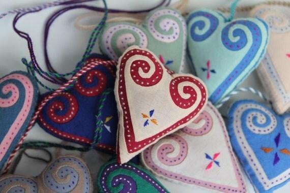 Vintage Heart Ornament - Hmong Textile